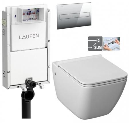 LAUFEN Podomít. systém LIS TW1 SET s chrómovým tlačidlom + WC JIKA PURE + SEDADLO duraplast (H8946630000001CR PU1)