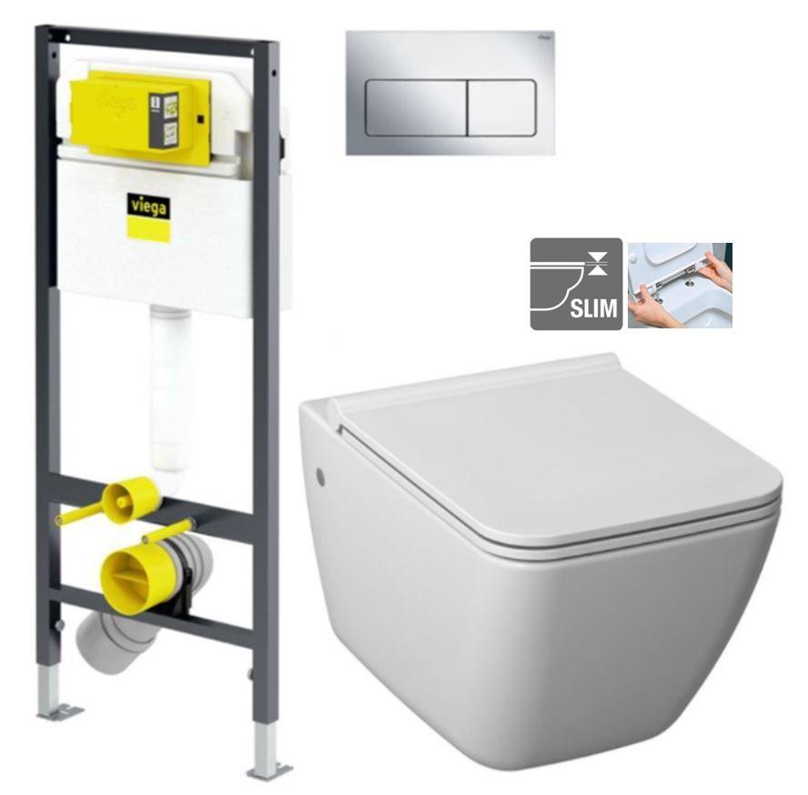 VIEGA Presvista modul DRY pre WC vrátane tlačidla Life5 CHROM + WC JIKA PURE + SEDADLO duraplast V771973 LIFE5CR PU1