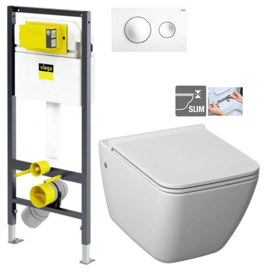 VIEGA Presvista modul DRY pre WC vrátane tlačidla Style 20 bielej + WC JIKA PURE + SEDADLO duraplast V771973 STYLE20BI PU1