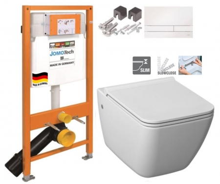 JOMOTech modul pre závesné WC s bielou doskou + WC JIKA PURE + SEDADLO SLOWCLOSE duraplast (174-91100900-00 PU2)