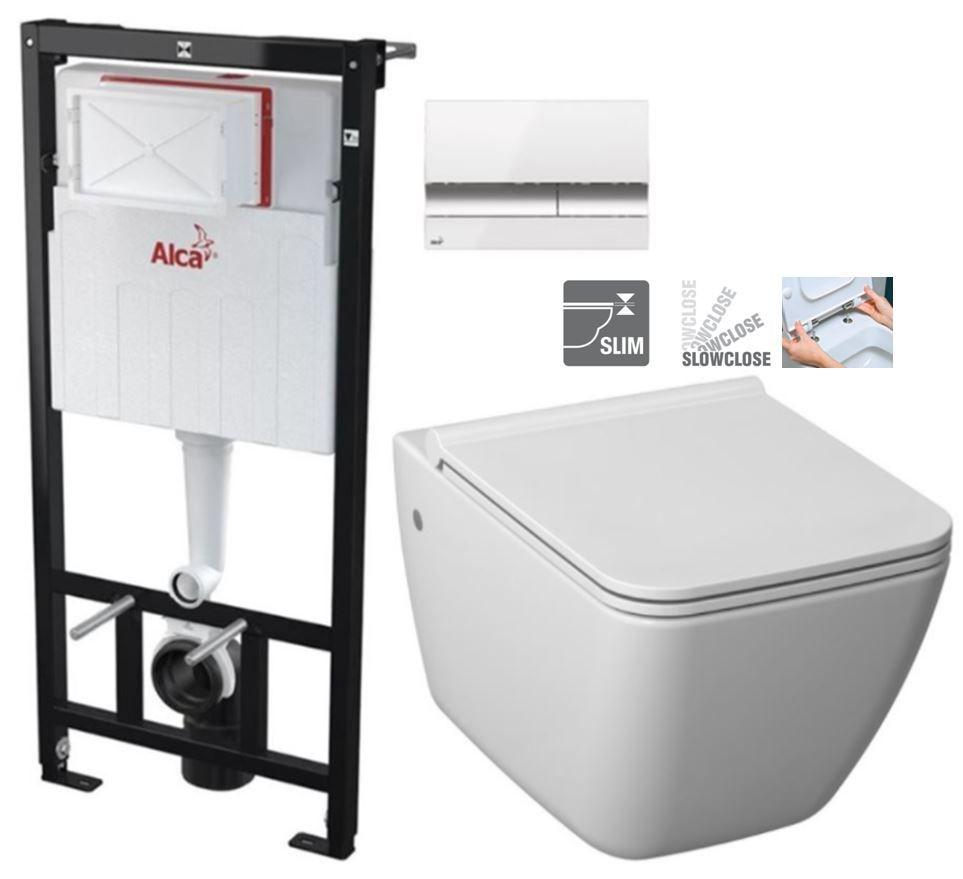 ALCAPLAST Sádromodul - predstenový inštalačný systém s bielym / chróm tlačidlom M1720-1 + WC JIKA PURE + SEDADLO SLOWCLOSE duraplast AM101/1120 M1720-1 PU2