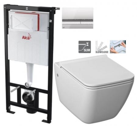 ALCAPLAST Sádromodul - predstenový inštalačný systém s chrómovým tlačidlom M1721 + WC JIKA PURE + SEDADLO SLOWCLOSE duraplast (AM101/1120 M1721 PU2)