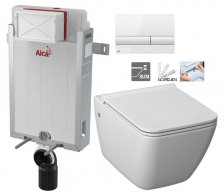 ALCAPLAST  Renovmodul - predstenový inštalačný systém s bielym tlačidlom M1710 + WC JIKA PURE + SEDADLO SLOWCLOSE duraplast (AM115/1000 M1710 PU2)