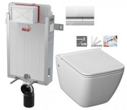 ALCAPLAST  Renovmodul - predstenový inštalačný systém s chrómovým tlačidlom M1721 + WC JIKA PURE + SEDADLO SLOWCLOSE duraplast (AM115/1000 M1721 PU2)
