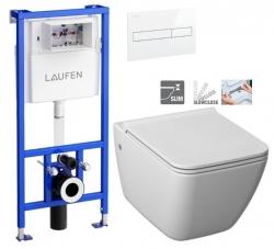 LAUFEN Rámový podomietkový modul CW1 SET s bielym tlačidlom + WC JIKA PURE + SEDADLO SLOWCLOSE duraplast (H8946600000001BI PU2)