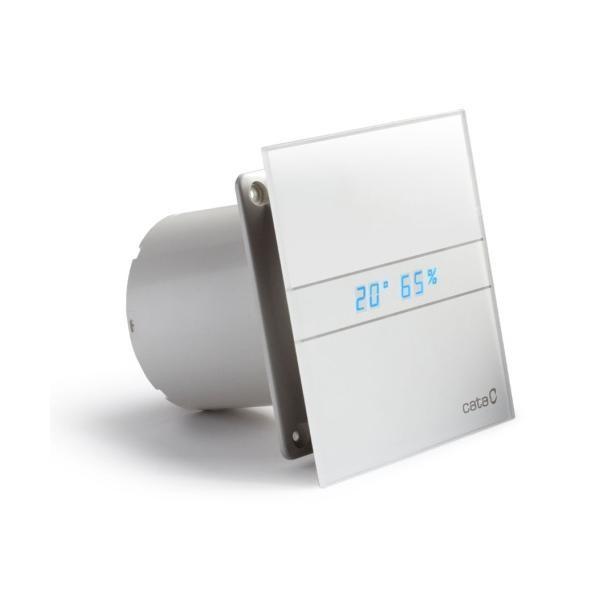 HOPA - Axiální ventilátory na zeď či do stropu E100 GTH, HYGRO, s časovačem, sklo bílé (CATA00900200)