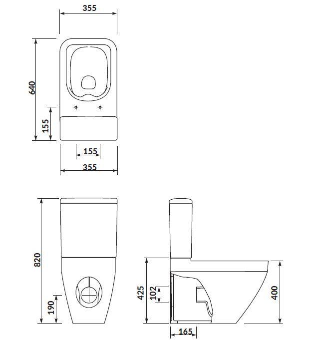 CERSANIT - WC KOMBI CREA CLEANON 011/020 ŠTVOREC, NÁDRŽKA 011 3/5, SEDADLO DUR SLIM WO LW ONE (K114-022-S-SET)
