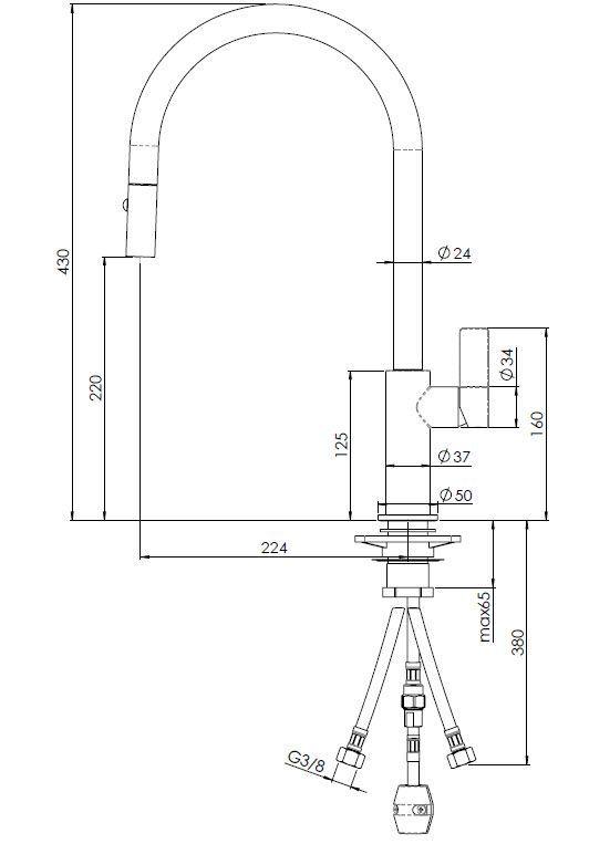 Reginox - Drezová batéria Japura BLACK, odnímateľná sprcha (R31551)