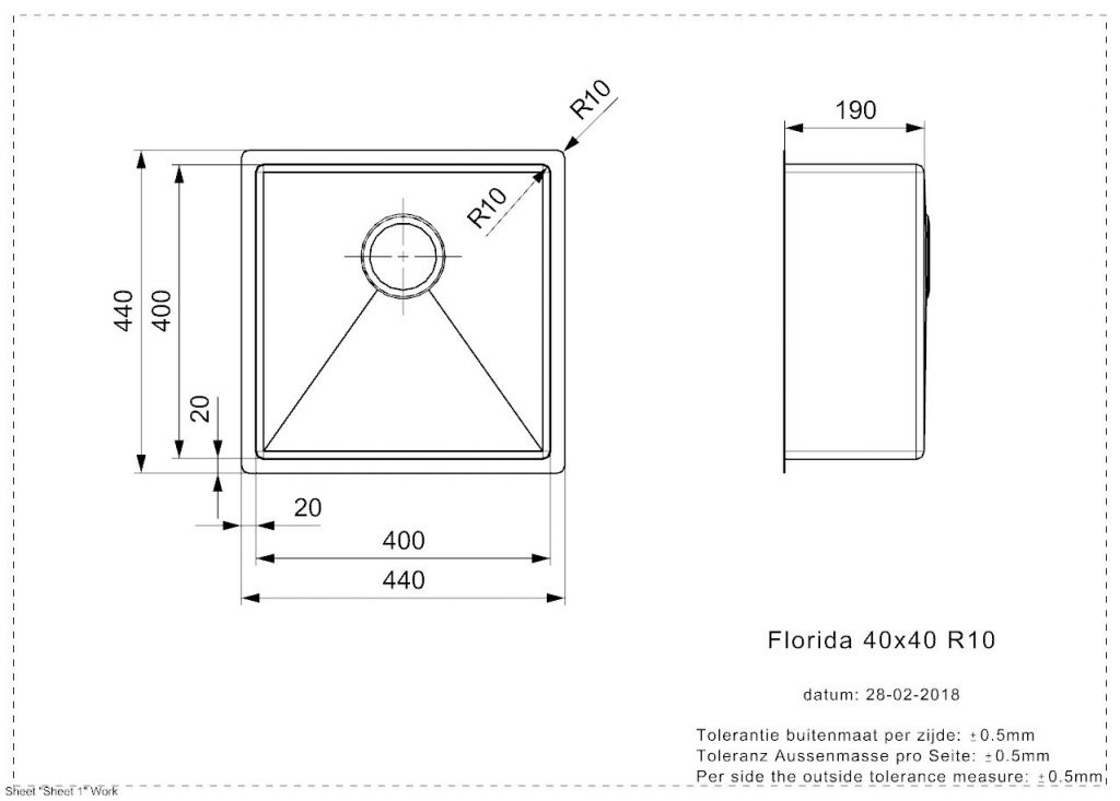 Reginox - Nerezový drez Florida 40x40 (R26274)