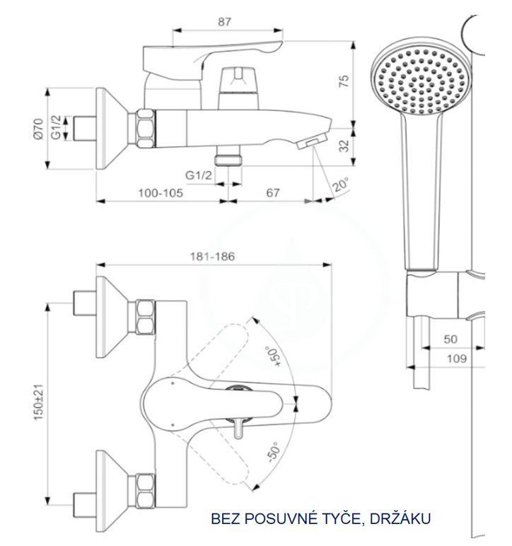 IDEAL STANDARD - Alpha Vaňová nástenná batéria s keramickým prepínačom, hadicou a ručnou sprchou, chróm 2. jakosť (BC656AA)