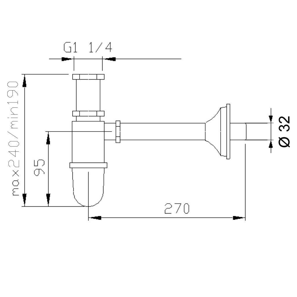 Reitano Rubinetteria - RETRO Umývadlový sifón 1'1/4, odpad 32mm, chróm (9591)