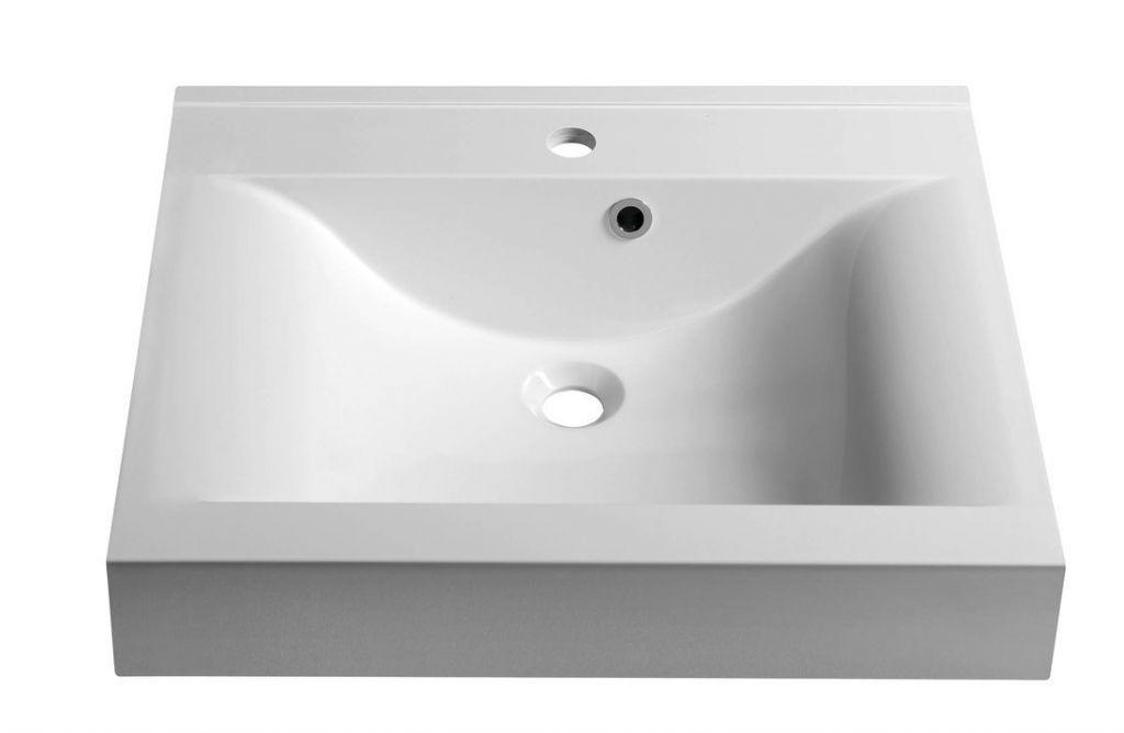 SAPHO - FLAVIA umývadlo 60x50cm, liaty mramor, biela (68061)