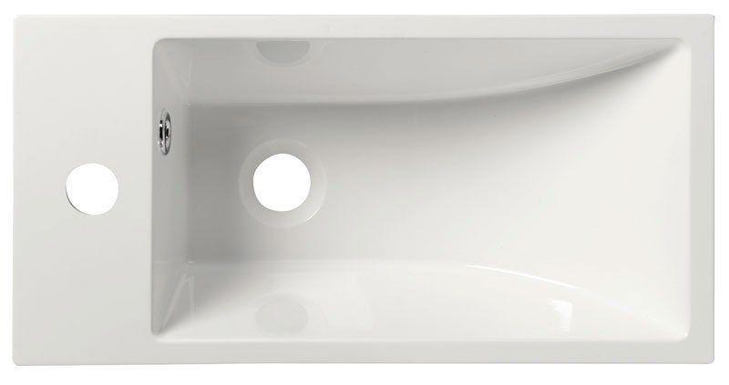 SAPHO - ARIANA liaty mramor umývadlo 50x10x25 cm, biele, batéria vľavo (SM012)