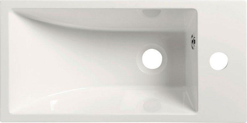 SAPHO - ARIANA liaty mramor umývadlo 50x10x25 cm, biele, batéria vpravo (SM016)