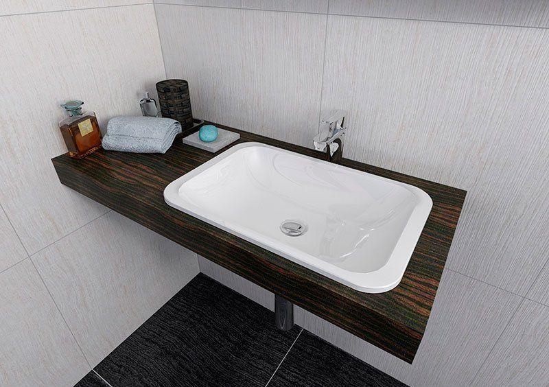 SAPHO - Japura umývadlo 55x36cm, liaty mramor, biela, zápustne (50135)