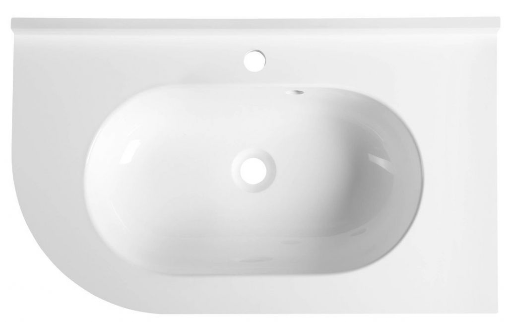 SAPHO - PULSE liaty mramor umývadlo 75x4,4x45cm, pravé, biele (BM658)