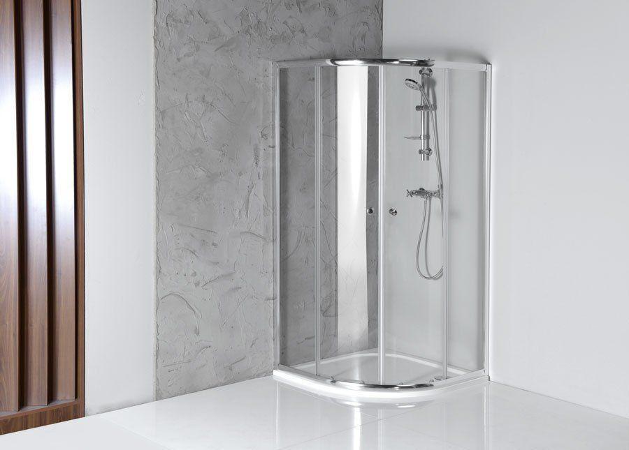 AQUALINE - ARLETA štvrťkruhová sprchová zástena 800x800mm, číre sklo (HLS800)