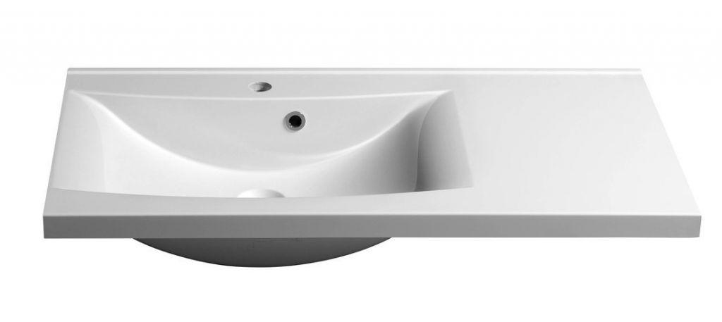 SAPHO - LUCIOLA umývadlo 90x48cm, liaty mramor, biela, ľavé (50093)
