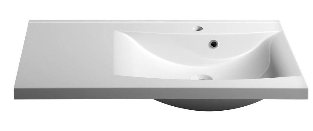 SAPHO - LUCIOLA umývadlo 90x48cm, liaty mramor, biela, pravé (50094)