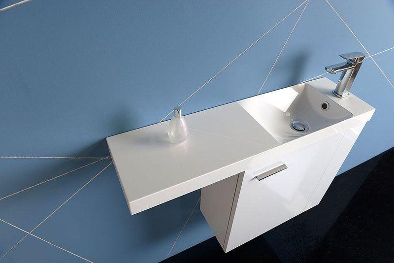 SAPHO - AGOS umývadlo 80x22cm, liaty mramor, biela, ľavé/pravé (AS080)