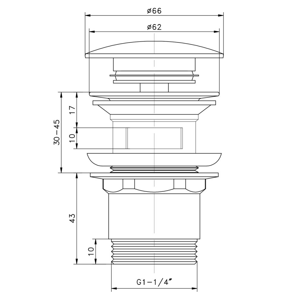AQUALINE - Uzatvárateľná umývadlová výpusť Click Clack, velká zátka, V 30-45mm, chróm (TF7001)