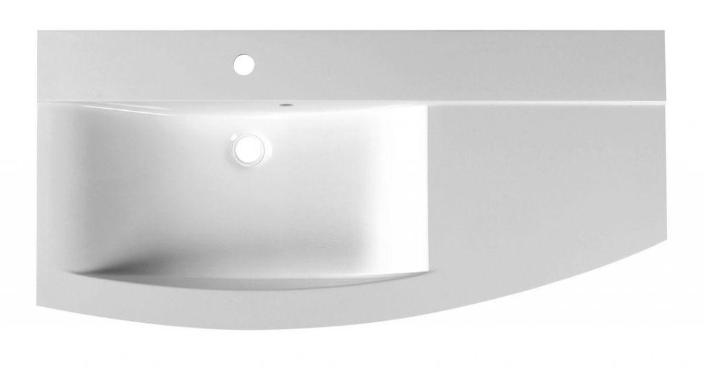 SAPHO - ARAS umývadlo 105,2x50,5cm, liaty mramor, s odkladacou plochou vpravo, biela (91060)