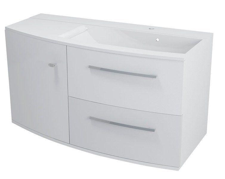 SAPHO - ARAS umývadlo 105,2x50,5cm, liaty mramor, s odkladacou plochou vľavo, biela (91061)