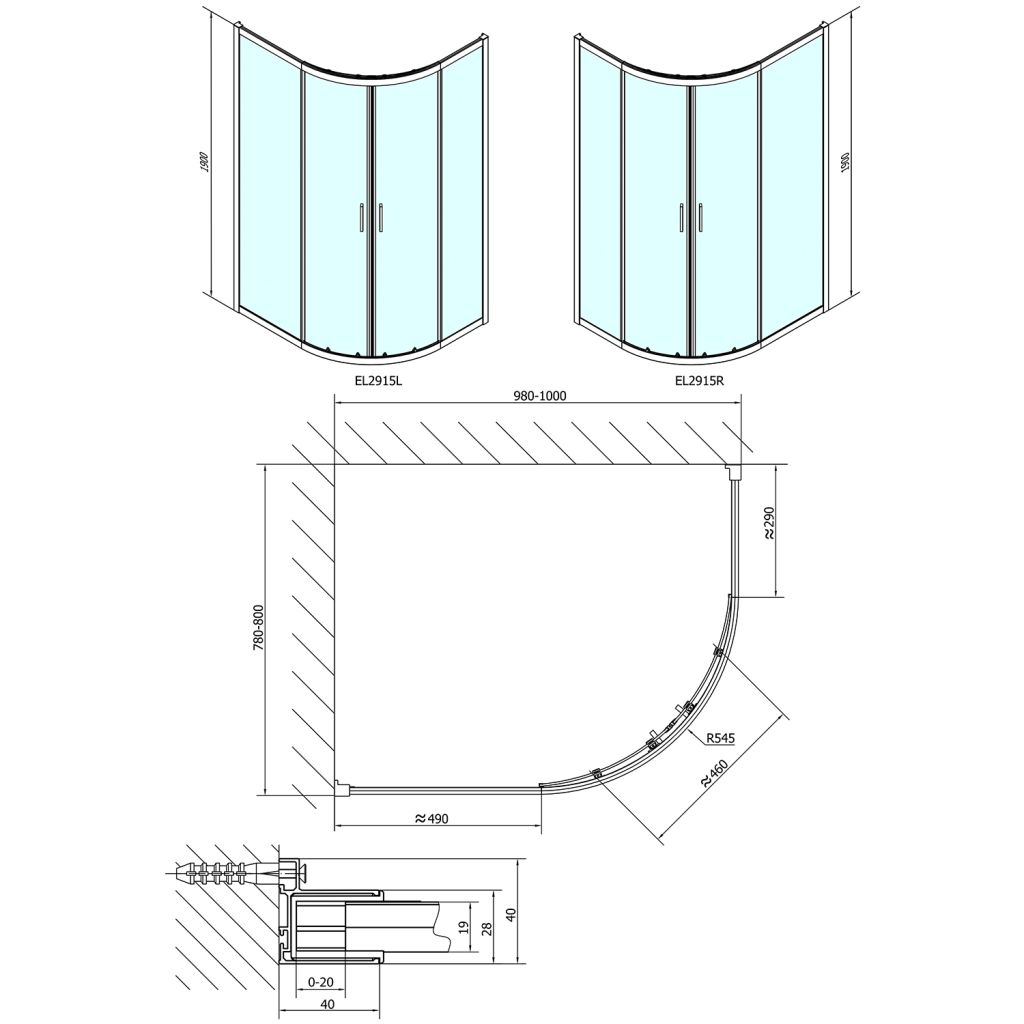 POLYSAN - EASY LINE štvrťkruhová sprchová zástena 1000x800mm, L/R, číre sklo (EL2915)