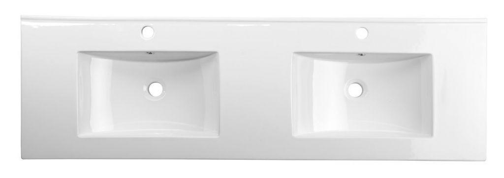 SAPHO - SLIM keramické dvojumývadlo 150x46cm, nábytkové (1601-150)