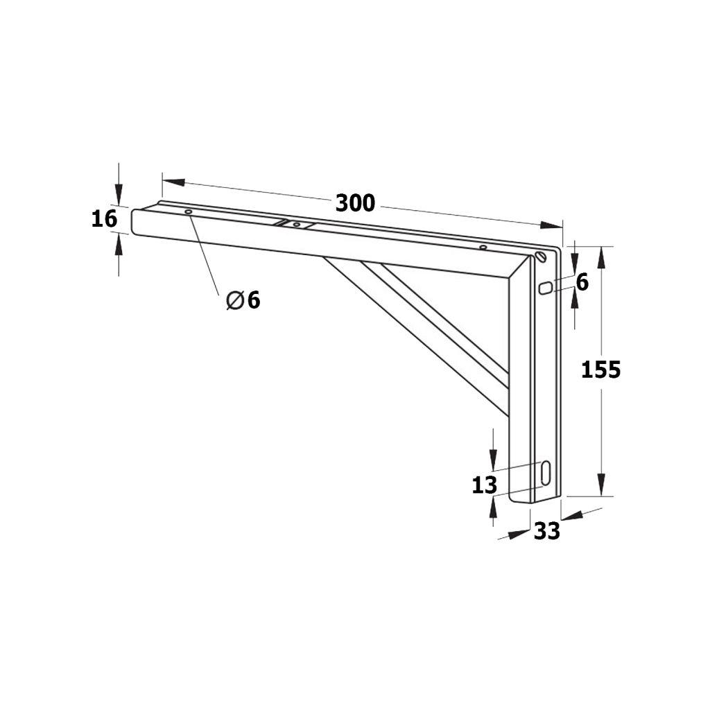 SAPHO - Podperná konzola 305x160x32mm, oceľ, 1 kus (30386)