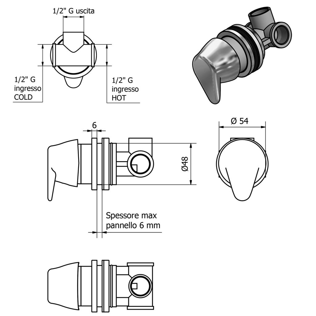 SAPHO - TINY Páková batéria na okraj vane, chróm (TMC12TY)