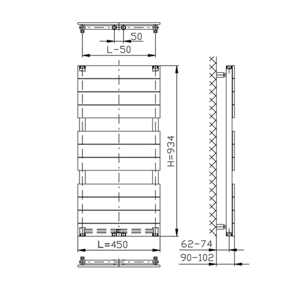 AQUALINE - BONDI vykurovacie teleso 450x934mm, biela (DC400T)