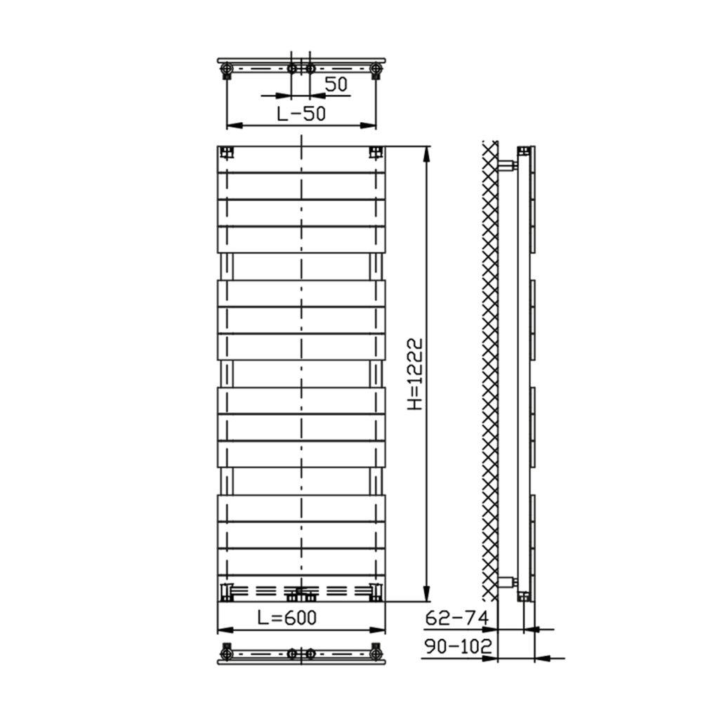 AQUALINE - BONDI vykurovacie teleso 600x1222mm, antracit (DC425T)