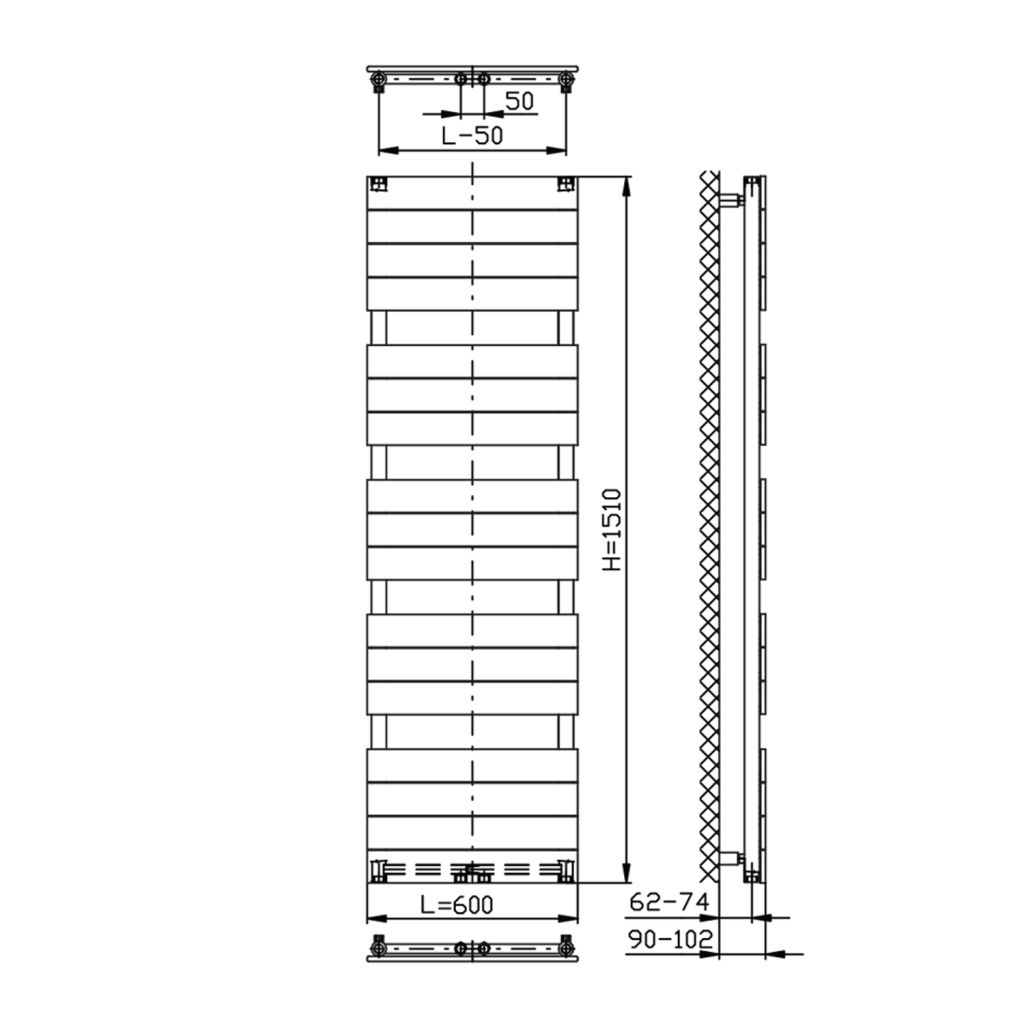AQUALINE - BONDI vykurovacie teleso 600x1510mm, antracit (DC445T)