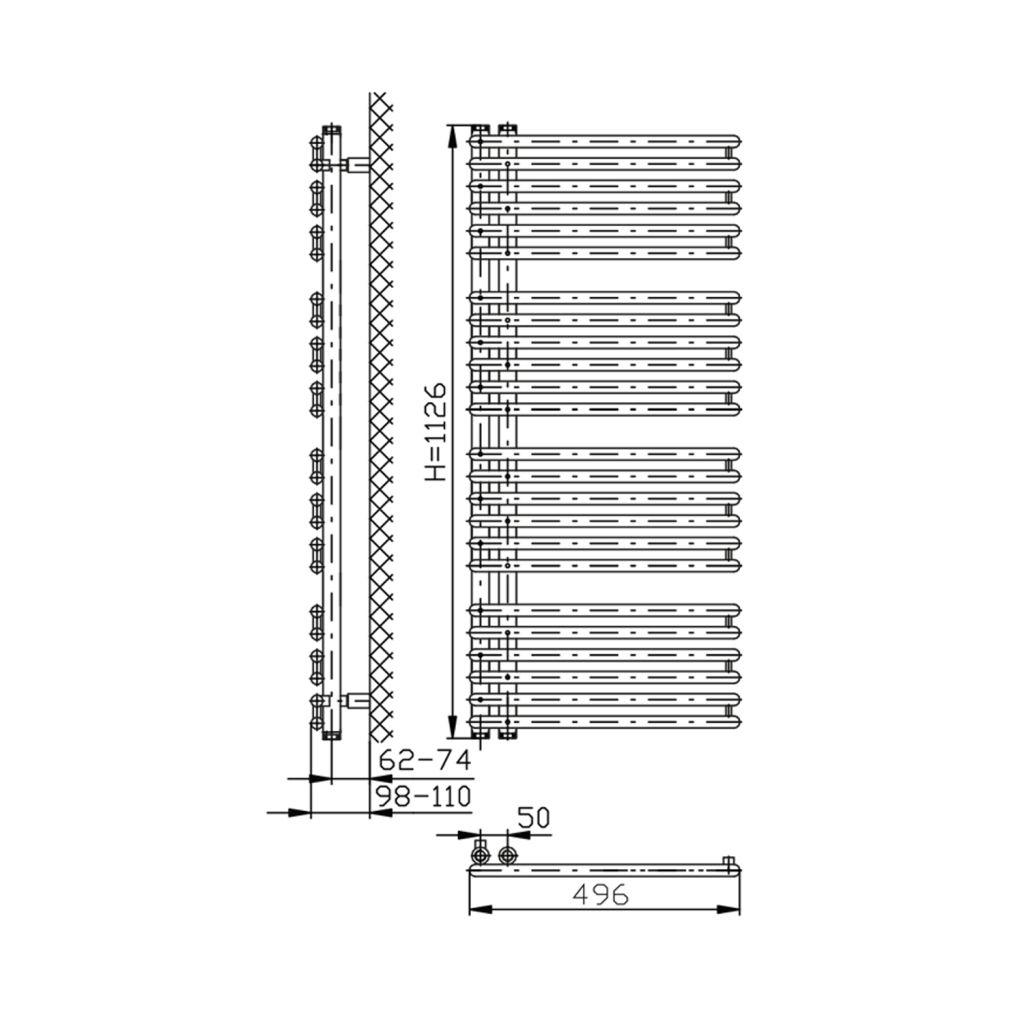 AQUALINE - TUBINI vykurovacie teleso 496x1126mm, biela (DC300T)