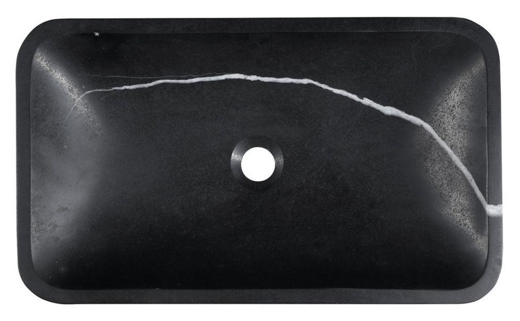 SAPHO - BLOK kamenné umývadlo 60x11x35 cm, čierny Marquin, matný (2401-39)