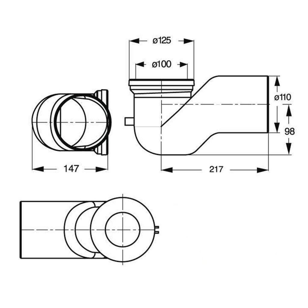Bruckner - WC koleno 90°, priemer 110 mm, ABS/biela (159.316.0)