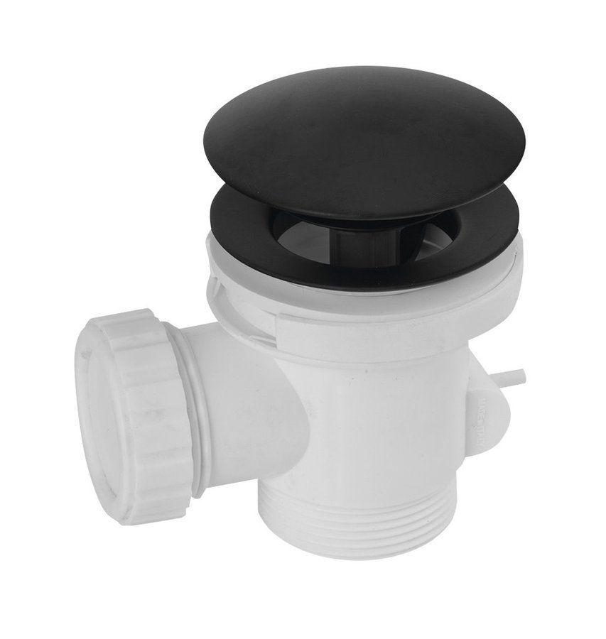POLYSAN - Vaňový odpad, Click Clack, pre vane bez prepadu, čierna matná (71704B)