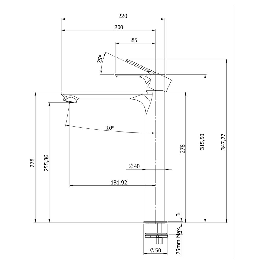 SAPHO - PAX stojánkova umývadlová batéria vysoká bez výpuste, predĺžená hubica, čierna m (XA07/15)