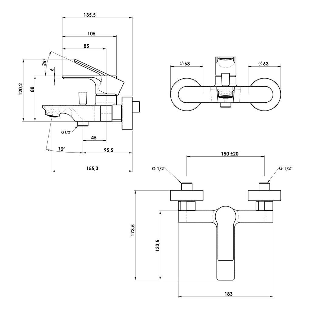 SAPHO - PAX nástenná vaňová batéria, čierna matná (XA10/15)