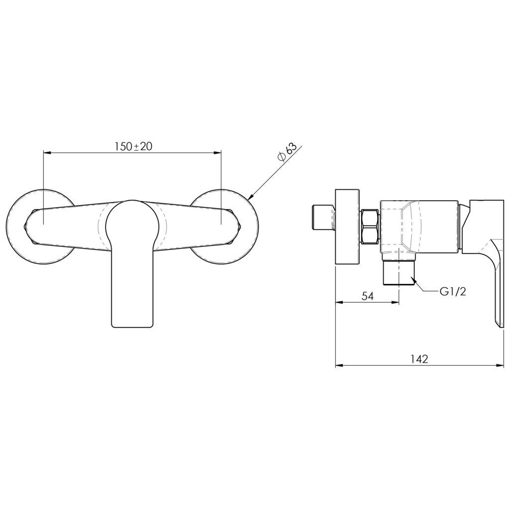SAPHO - PAX nástenná sprchová batéria, čierna matná (XA11/15)