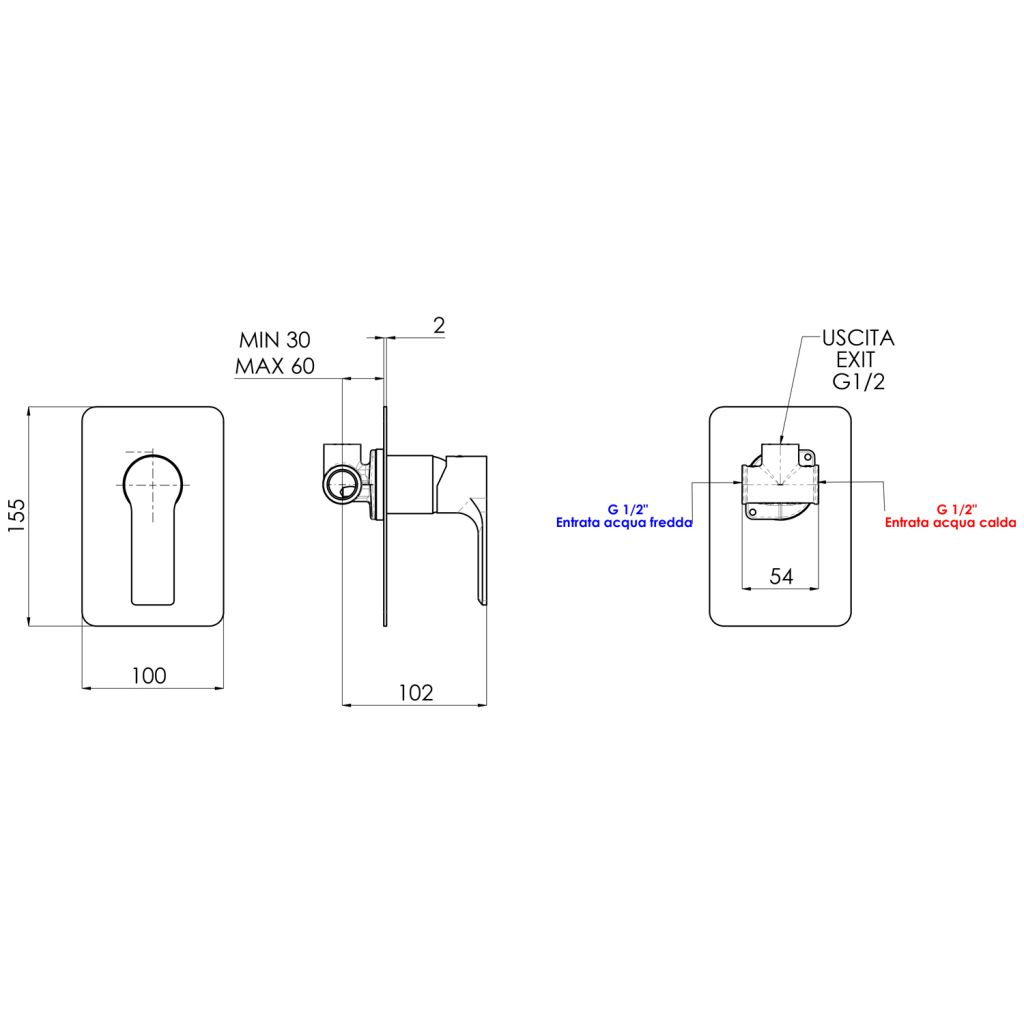 SAPHO - PAX podomietková sprchová batéria, 1 výstup, čierna matná (XA41/15)