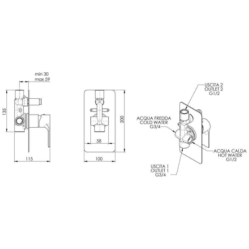 SAPHO - PAX podomietková sprchová batéria, 2 výstupy, čierna matná (XA42/15)