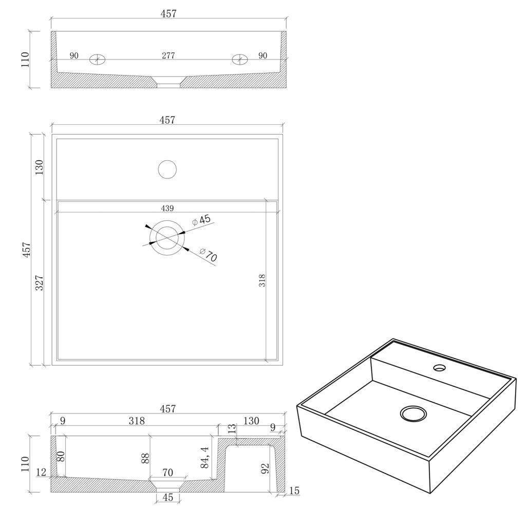 SAPHO - QUADRADO betónové umývadlo vrátane výpusti, 46x46 cm, biely pieskovec (AR469)