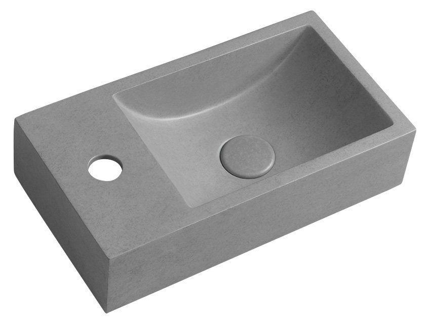 SAPHO - CREST L betónové umývadlo vrátane výpusti, 40x22 cm, šedá pásikavá AR406