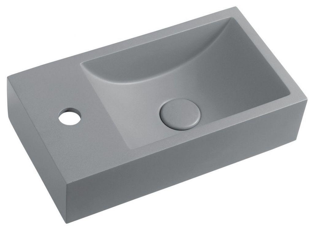 SAPHO - CREST L betónové umývadlo vrátane výpusti, 40x22 cm, šedá AR407