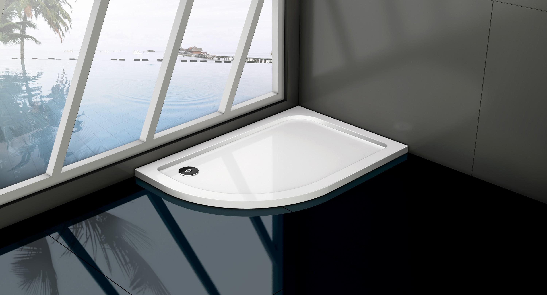 HOPA - asymetrická štvrťkruhová sprchová vanička VENETS - Rozmer A - 100 cm, Rozmer B - 80 cm, Spôsob prevedenia - Pravá VANKASCTVR8010P