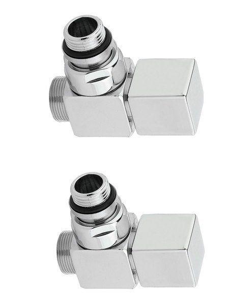 SAPHO - CUBE pripojovacia sada ventilov ručná rohová, brúsená nerez CP4510