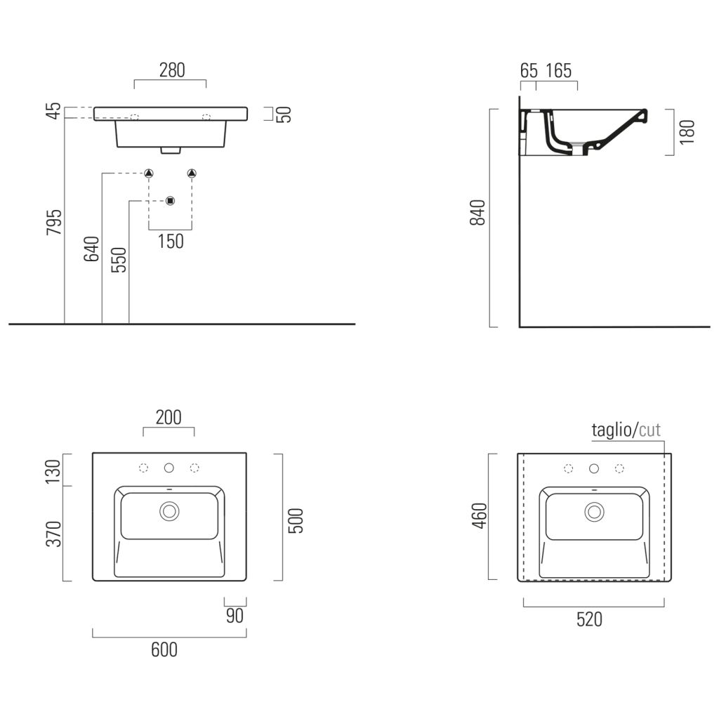 GSI - NORM keramické umývadlo 60x18x50 cm, biela ExtraGlaze (8635111)