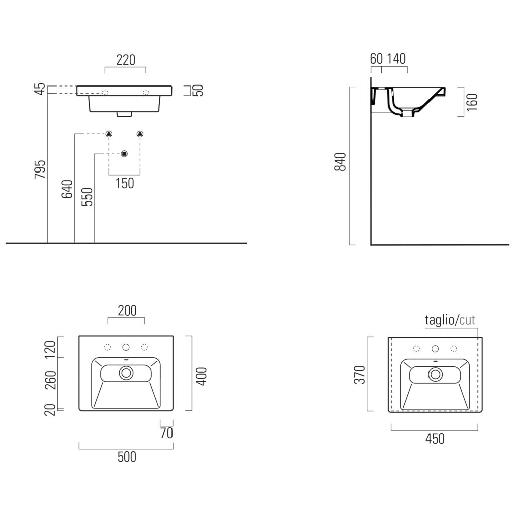 GSI - NORM keramické umývadlo 50x18x40 cm, biela ExtraGlaze (8638111)
